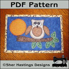 PDF Pattern for Harvest Owl Mug Rug, Mug Rug Pattern, Harvest Owl Candle Mat Pattern, Harvest Owl Mini Quilt Pattern - Tutorial, DIY via Etsy