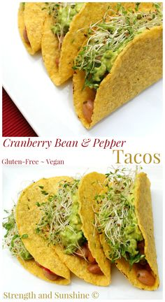 Perfect for Meatless Monday or Taco Tuesday, these Cranberry Bean & Pepper Tacos will change the way you think about tacos. Gluten-free and vegan, these healthy homemade tacos will meet all tac. Mexican Food Recipes, Whole Food Recipes, Vegetarian Recipes, Dinner Recipes, Ethnic Recipes, Best Gluten Free Recipes, Allergy Free Recipes, Vegan Gluten Free, Cranberry Beans