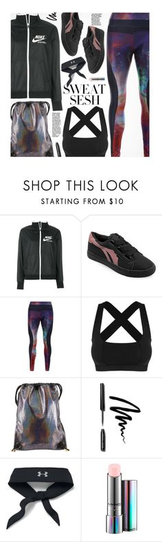 """""""Sweat Sesh: Gym Style"""" by beebeely-look ❤ liked on Polyvore featuring NIKE, Reebok, Bobbi Brown Cosmetics, Under Armour, MAC Cosmetics, sporty, sportystyle, gamiss, sweatsesh and gymessentials"""