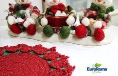 Material: EuroRoma Brilho 4/6 [Sugestão de cores: 803 – Verde Bandeira Dourado e 1000 – Vermelho Dourado ] Agulha para crochê 3,5 mm.