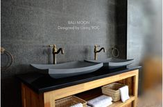 23'' Gray Andesite basalt Concrete look Stone Vessel Sink - BALI MOON