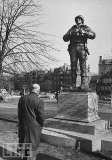 President Eisenhower viewing the General Patton statue at West Point