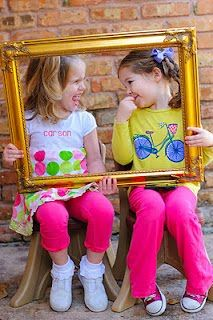Face Paint Photo booth- kids hold the frame- Cute idea I love the brick wall backdrop, could we use the foam blocks I have to make the backdrop look like this?