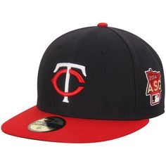 edc19b7064c Minnesota Twins New Era Road Authentic Collection On-Field NE Tech 59FIFTY  Fitted Hat with 2014 All-Star Patch - Navy Red
