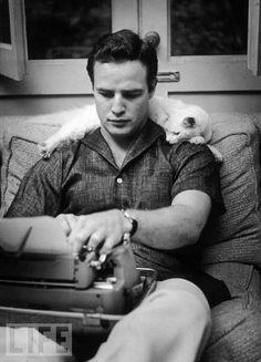 ÜNLÜ ROMANLAR HANGİ DAKTİLOLAR İLE YAZILDI? - Fotoğraf | Eskimeyen Kitaplar #MarlonBrando – 1954 #typewriter #cat