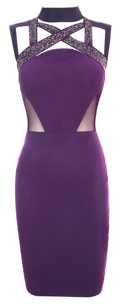 Clothing : Pencil Dresses : 'Gracie' Crystal Embellished Mesh Crepe Bodycon Dress
