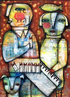DAN CASADO outsider folk art wood PIANO original painting collage | eBay