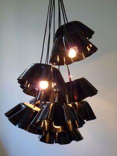 Repurpose old records / LPs / Vinyl. I love this vinyl chandelier!