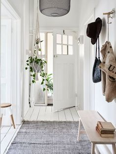 White wooden hallway interior