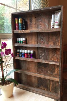 Essential oil shelf nail polish storage by NauticalCreationsCo