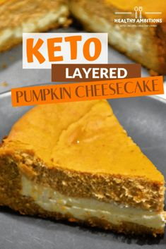 Keto-Approved Layered Pumpkin Cheesecake with a Cookie Crust keto ketosis dessert pumpkin cheesecake lowcarb glutenfree grainfree sugarfree healthyambitions 811210951613384859 Layered Pumpkin Cheesecake, Layer Cheesecake, Keto Cheesecake, Keto Cake, Low Carb Pumpkin Cheesecake, Cheesecake Cookies, Raspberry Cheesecake, Keto Friendly Desserts, Low Carb Desserts