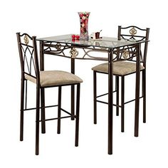 Home Source Industries Crown Bistro 3Piece Dining Set with Glass Table Top and 2 Chairs *** You can find more details by visiting the image link.Note:It is affiliate link to Amazon.