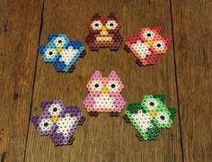Cute Owl Magnets Made From Hama Beads by Harribeads