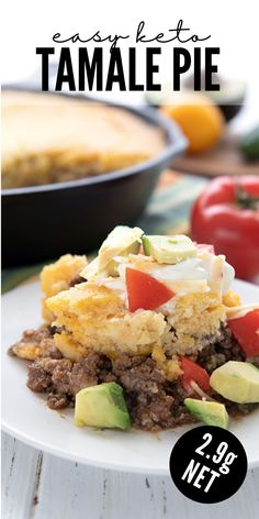 """Family friendly keto meal! This easy tamale pie is filled with spiced ground beef, cheese, and a delicious low carb """"cornbread"""" topping. Kids love it!"""