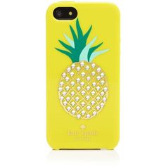 kate spade new york iPhone 5/5s Case - Resin Embellished Pineapple ($34) ❤ liked on Polyvore featuring accessories, tech accessories, lemon yellow and kate spade