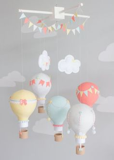 Aqua Coral Grey Yellow Baby Mobile Hot Air by sunshineandvodka