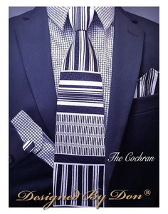Items similar to - Cochran (Combo Tie, Hanky and Cufflinks) on Etsy Match One, Tie Set, Silk Ties, Woven Fabric, Tie Clip, Cufflinks, Black And White, Etsy, Awesome