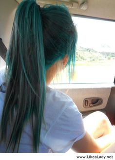 Turquoise hair- I envy people who can do fun colors like this. If you work in any kind of professional setting, turquoise hair wouldn't be allowed. But it'd be fun.