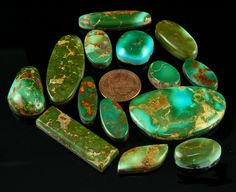 This is a group of Royston Turquoise Stones cut by John Hartman of Durango Silver Company. This is a good spectrum of high grade Royston Turquoise Gemstones.