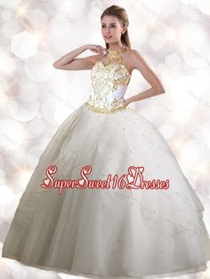 a1d9a8dfe49 Quinceanera Dresses shop offers Best Quinceanera Dresses - 2016 Spring  Feminine Halter Top White Quinceanera Gowns with Appliques