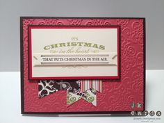Stampin' Up!, CCMC 221 Guest Designer Sketch, Heart of Christmas, Lacy Brocade Embossing Folder, Candlelight Christmas Specialty DSP