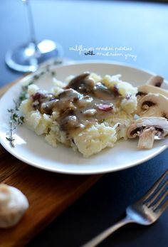 Cauliflower Mashed Potatoes with Mushroom Gravy