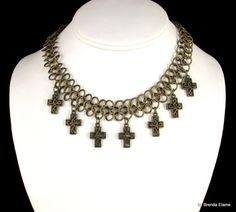 Chainmaille Choker in Antique Brass with Crosses   byBrendaElaine - Jewelry on ArtFire