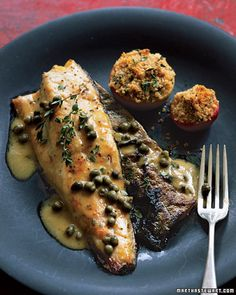 Trout with mustard sauce and lady apples from Martha Stewart's Whole Living. Can use halibut, red snapper, tilapia or salmon instead.