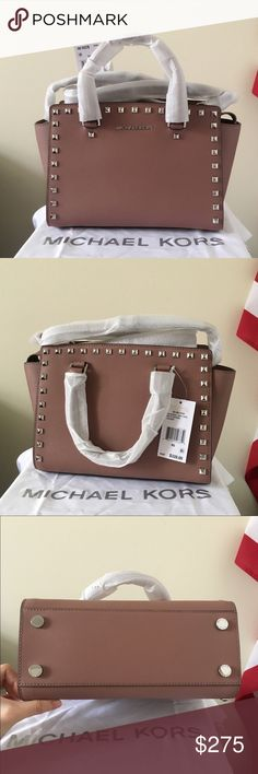 NWT Michael Kors Studded Selma Dusty Rose Beautiful dusty color with silver detailing. One of the less common ones.  Just grogeous! Brand brand new with tags! Authentic! Medium size  Measurement: 11.5*8*5 inch  Dust bag and paper shopping bag are included. Michael Kors Bags Satchels