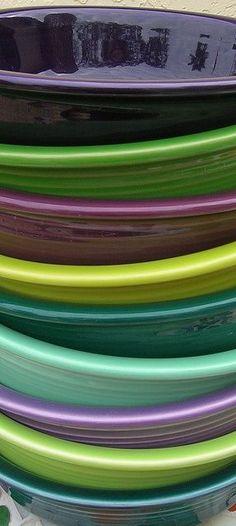 fiestaware.  From the bottom up - Juniper, Chartreuse, Lilac, Seamist, Evergreen, Lemongrass, Heather, Shamrock, Plum. color-combos
