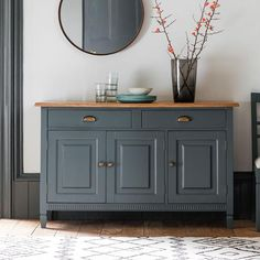 The Atlantic Sideboard is a standout item in any room. Mahogany wood painted in a blue grey colour, parquet oak top and bronzed drawer and cupboard handles. Painted Sideboard, Kitchen Sideboard, Sideboard Ideas, Sideboard Buffet, Shabby Chic Sideboard, Console Table, Family Dining Rooms, Cupboard Handles, Brass Handles
