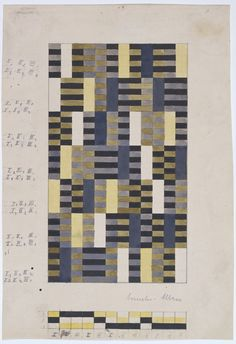 These rectilinear abstract designs based on color relationships reflect the principles of Albers's studies at the Bauhaus. Philip Johnson, The Museum of Modern Art's curator of architecture, invited Anni and her husband, Josef, to teach at the newly created Black Mountain College in North Carolina, where Anni ran the weaving program from 1933 to 1949. A gifted teacher, she relied heavily on her Bauhaus experience of hands–on experimentation with materials and of focus on the industrial…