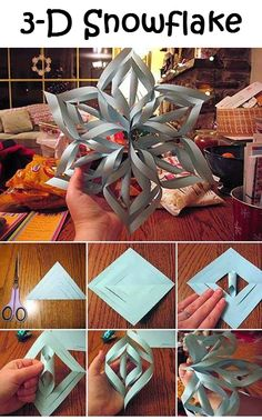 Make A Huge 3-D Snowflake - http://diyideas4home.com/2013/11/make-huge-3-d-snowflake/