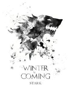 Casa Stark, Ilustración de la lámina de arte de juego de tronos, el invierno está viniendo, Home Decor, arte de la pared