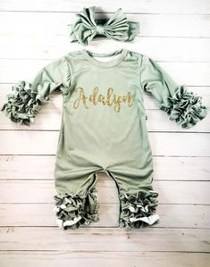 4f1cf918d77f Personalized Newborn Girl Coming Home Outfit Girl Gown Baby Girl Gown Baby  Shower Gift Olive Green Newborn Romper Icing Romper Ruffle