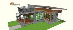 แบบบ้านโมเดิร์นลอฟท์ มาพร้อมกับดาดฟ้าชมวิว พื้นที่ใช้สร้อย 75 ตรม   ดูไอเดียบ้าน Small Cottage House Plans, Small House Plans, Cottage Homes, Modern Bungalow House, Small Cottages, Gazebo, Outdoor Structures, Farm House, House Ideas