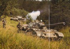 Czechoslovakian T-55 tanks during training