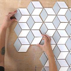 Carefully handcrafted, our diamond mosaic tile backsplash is beautifully elegant. Hexagon Backsplash, Mosaic Tiles, Mosaics, Tile Projects, Handmade Tiles, Tile Installation, Decorative Tile, Color Tile, Tile Design