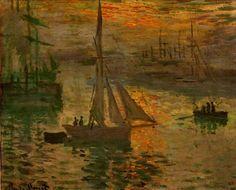 dappledwithshadow:  Sunrise (also known as Seascape), Claude Monet 1873