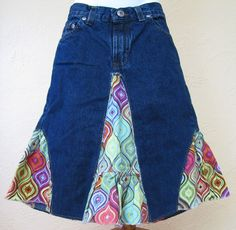 Upcycled jean skirt.  Good way to recycle jeans when they get too short but still fit around the waist?