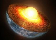 Earth's inner core of solid iron spins eastward while the outer core of liquid iron rotates in the opposite direction - caused by magnetic fields