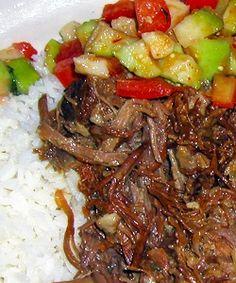 Ropa Vieja, white rice, aguacate salad