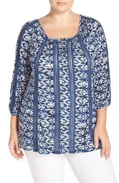 Lucky Brand Lace Inset Print Peasant Top (Plus Size)