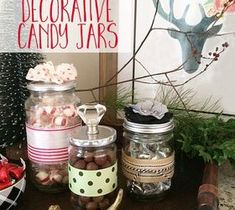 DIY and Crafts: Handmade Decorative Candy Jars Holiday Crafts, Home Crafts, Diy And Crafts, Christmas Crafts, Christmas Stuff, Christmas Candles, Holiday Ideas, Mason Jar Crafts, Bottle Crafts