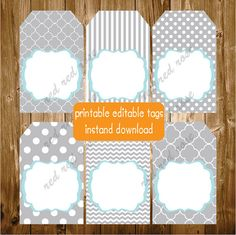 Editable Printable Labels Gift Tags Thank by RedRedRoseHandmade