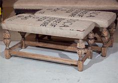 Pair Jacobean Oak Benches in Old Burlap Cover thumbnail 2 Burlap Furniture, Repurposed Furniture, Furniture Projects, Furniture Makeover, Vintage Furniture, Home Projects, Painted Furniture, Oak Bench, Upholstery