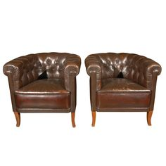 Pair of Swedish Chesterfield Chairs, Circa 1920