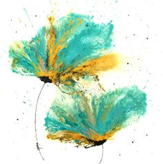 Abstract Flower Art, Painting Abstract, Watercolor Art, Flower Paintings, Art Paintings, Zoo Art, Shades Of Turquoise, Contemporary, Modern