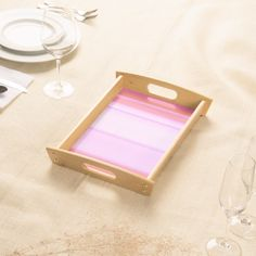 Pink and Pinker Stripe Design Serving Tray 15% off #zazzle www.leatherwooddesign.com  #shop