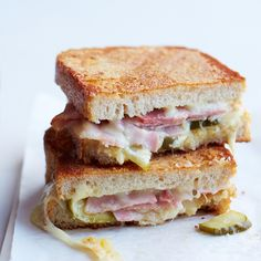 Inside-Out Grilled Ham-and-Cheese Sandwiches | The best way to improve on a great grilled cheese is to sprinkle some cheese on the outside of the bread for a super-crisp, cheesy crust.  Lots of grilled cheese ideas :)